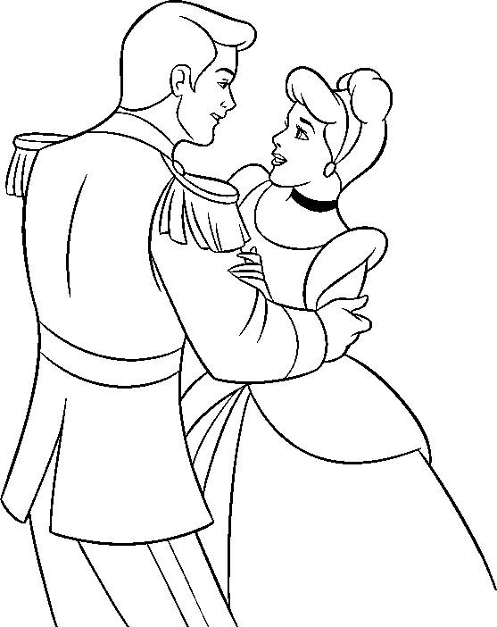 Coloriage et dessins gratuits La Prince charmant  et Cendrillon à imprimer
