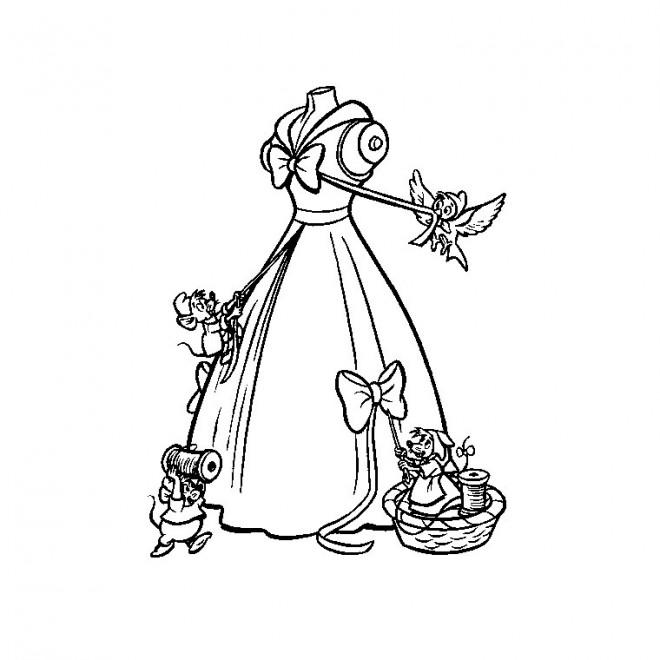 Coloriage et dessins gratuits La robe de Cendrillon à imprimer