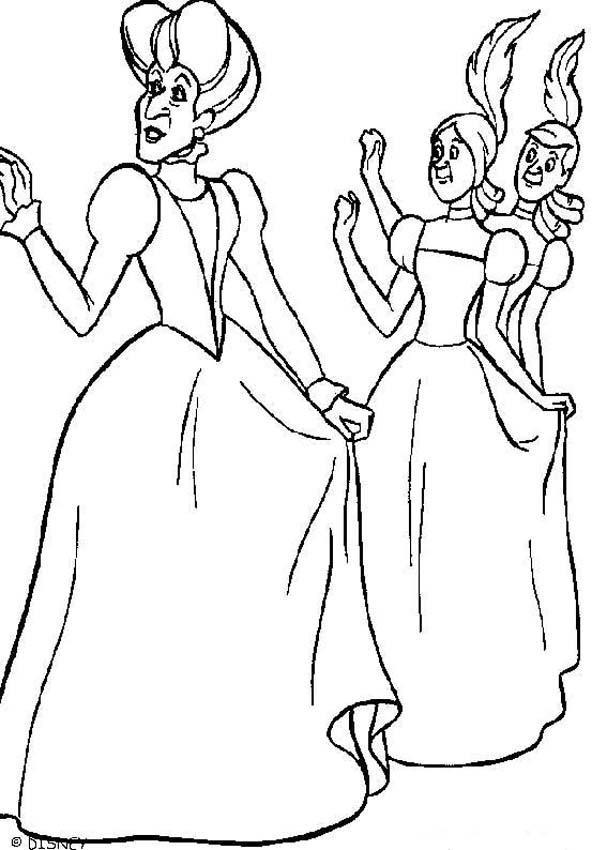 Coloriage et dessins gratuits Lady Trémaine et ses filles à imprimer