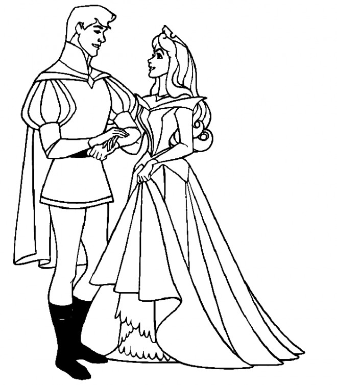 Coloriage et dessins gratuits Prince Henri accompagne Cendrillon à imprimer