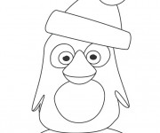 Coloriage Club Penguin de Noel facile