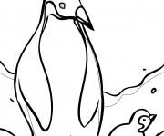 Coloriage Club Penguin en noir et blanc