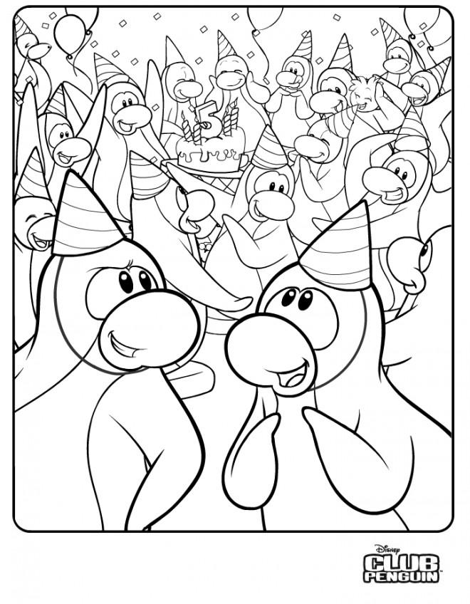 Coloriage et dessins gratuits Club Penguin et L'anniversaire à imprimer