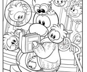 Coloriage Club Penguin et la lecture
