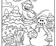 Coloriage Club Penguin et la neige