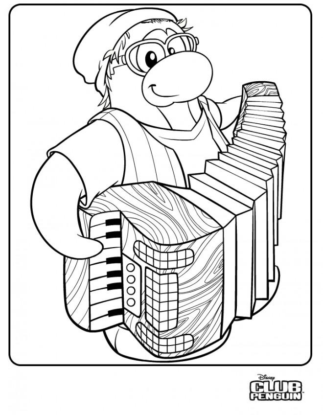 Coloriage et dessins gratuits Penguin musicien à imprimer