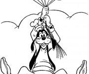 Coloriage et dessins gratuit Dingo vole grâce à des ballons à imprimer
