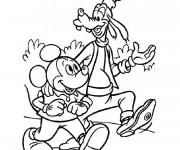 Coloriage et dessins gratuit Mickey et Dingo baladent à imprimer