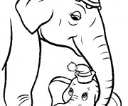 Coloriage Dumbo et Madame Jumbo disney