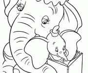 Coloriage Dumbo et Madame Jumbo lisent ensemble