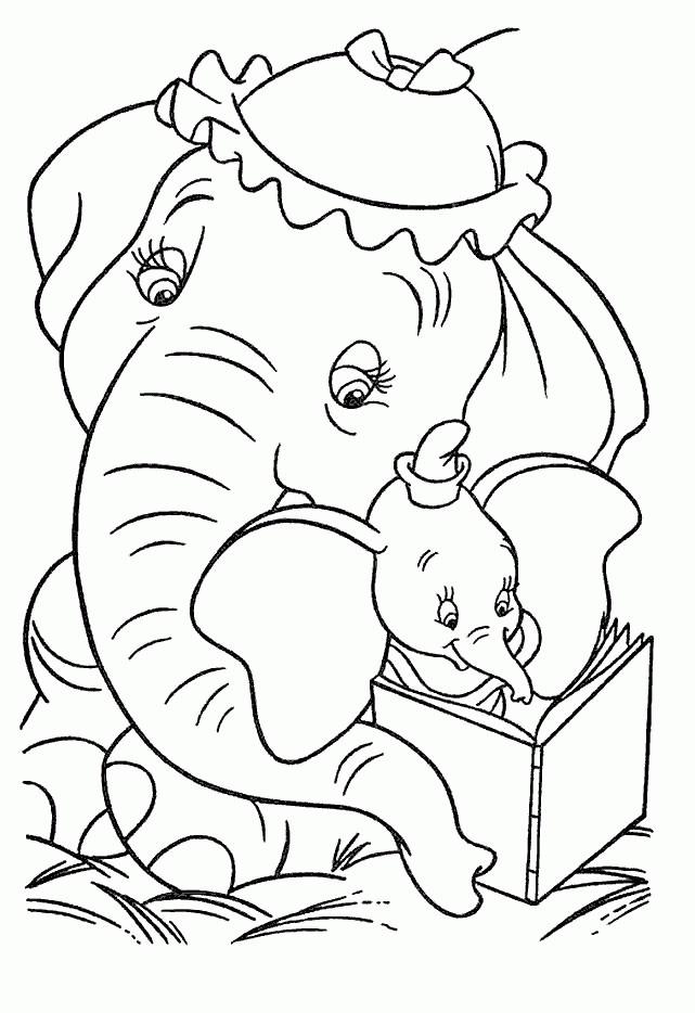 Coloriage Dumbo Et Madame Jumbo Lisent Ensemble Dessin Gratuit A Imprimer