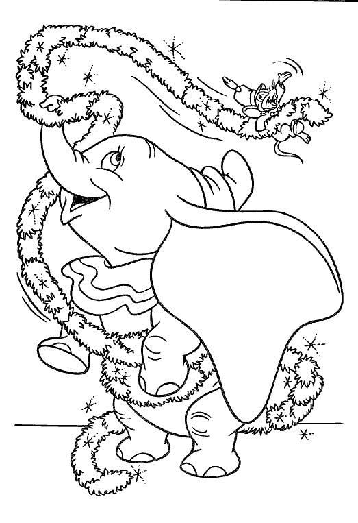 Coloriage et dessins gratuits Dumbo joue avec Timothée à imprimer