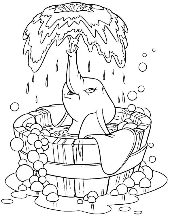Coloriage et dessins gratuits Dumbo se nettoie à imprimer