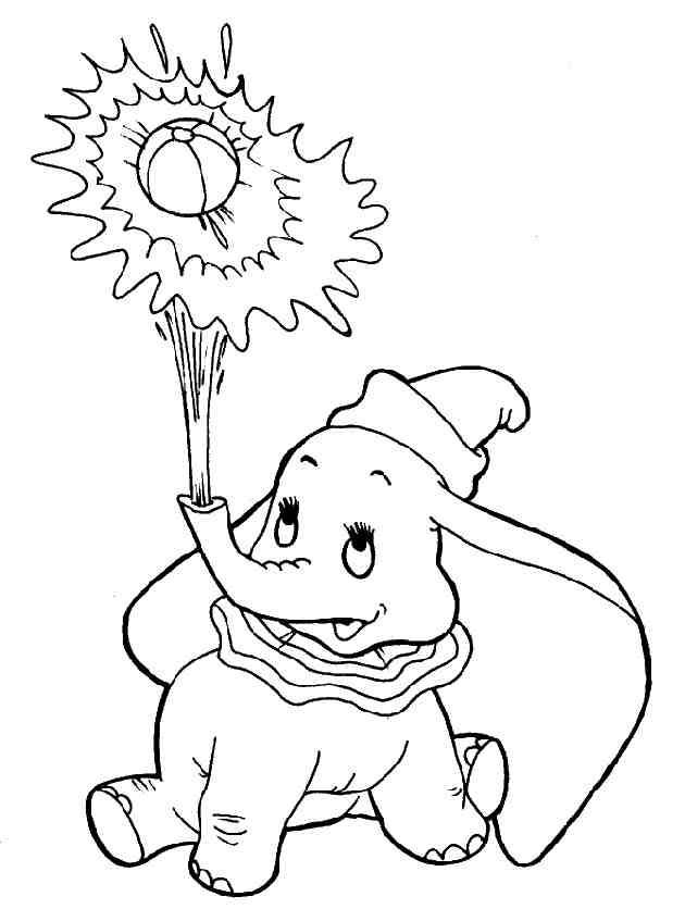 Coloriage Dumbo tire un ballon dessin gratuit à imprimer
