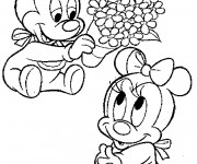Coloriage Fantasia Petit Mickey et minnie