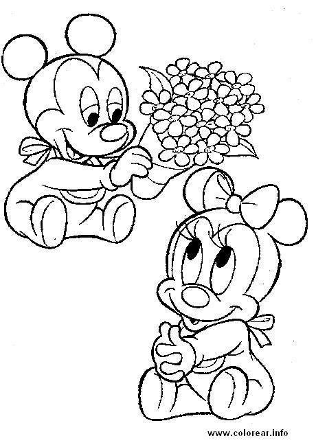 Coloriage et dessins gratuits Fantasia Petit Mickey et minnie à imprimer