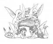 Coloriage Fee Clochette avec les autres fées