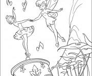 Coloriage Fee Clochette danse avec la boîte à musique