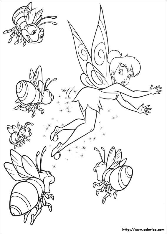 Coloriage et dessins gratuits Fee Clochette s'évade des abeilles à imprimer