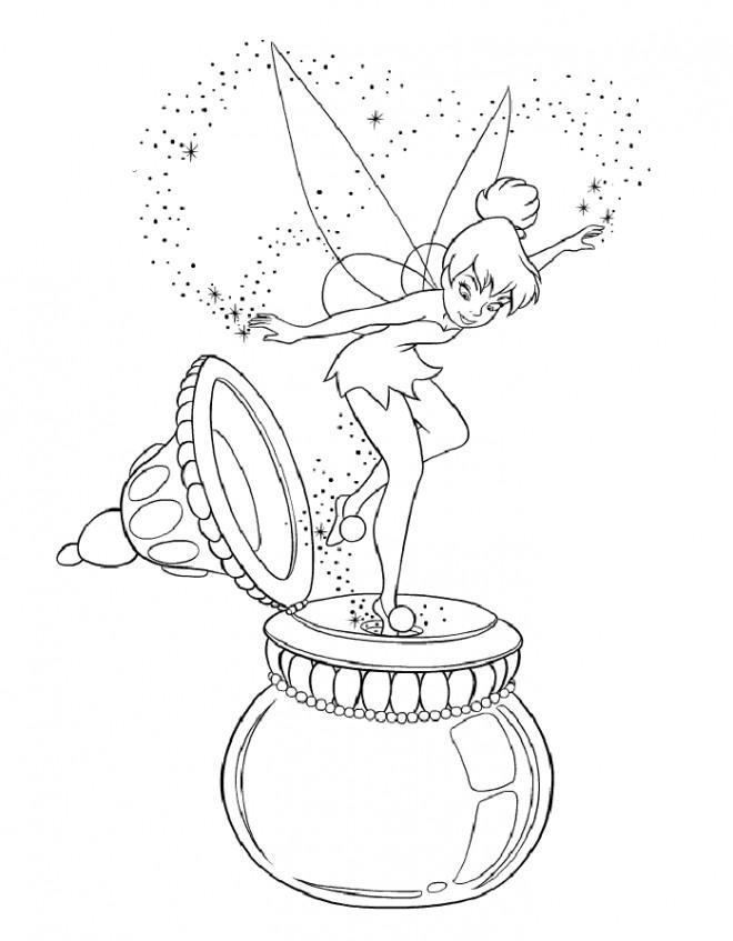 Coloriage et dessins gratuits Fee Clochette sur un couvercle à imprimer