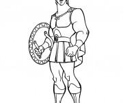 Coloriage Hercule avec son armure