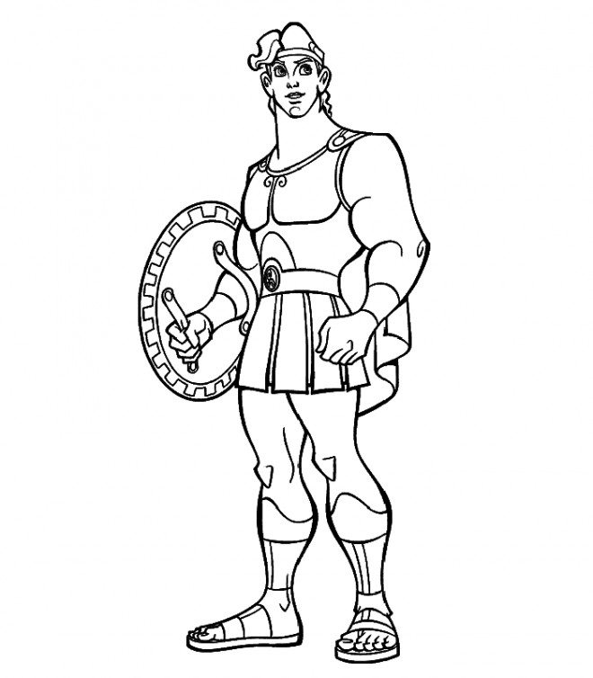 Coloriage et dessins gratuits Hercule avec son armure à imprimer