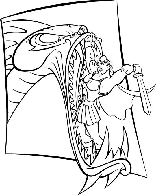 Coloriage et dessins gratuits Hercule combat le monstre à imprimer