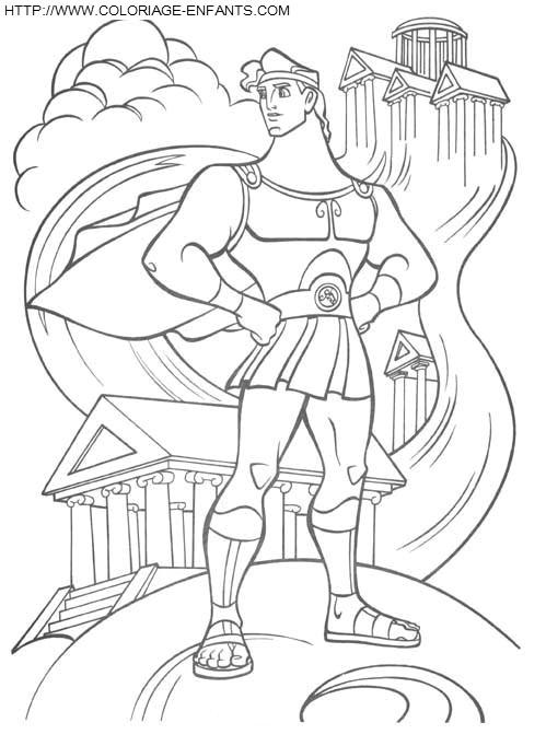 Coloriage et dessins gratuits Hercule en face du temple à imprimer