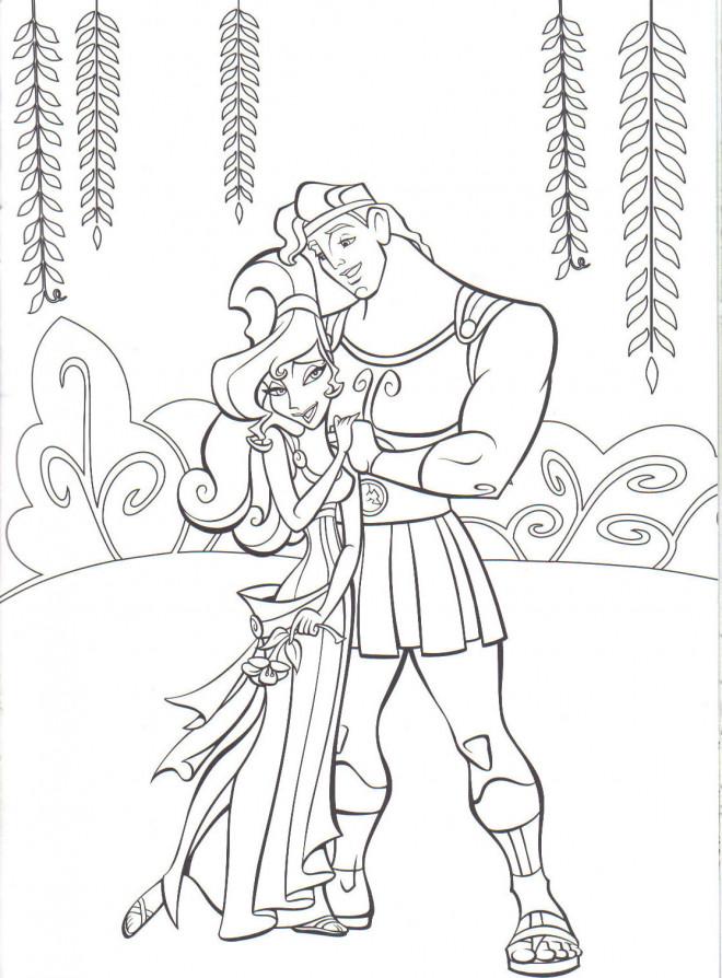 Coloriage et dessins gratuits Hercule et Megara dans la nature à imprimer