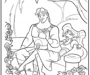 Coloriage Hercule et Megara dans le jardin