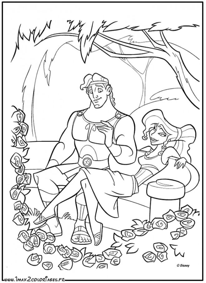 Coloriage et dessins gratuits Hercule et Megara dans le jardin à imprimer