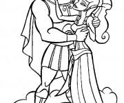 Coloriage et dessins gratuit Hercule et Megara sur les nuages à imprimer