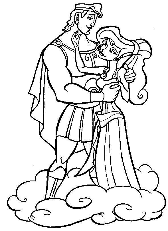 Coloriage et dessins gratuits Hercule et Megara sur les nuages à imprimer