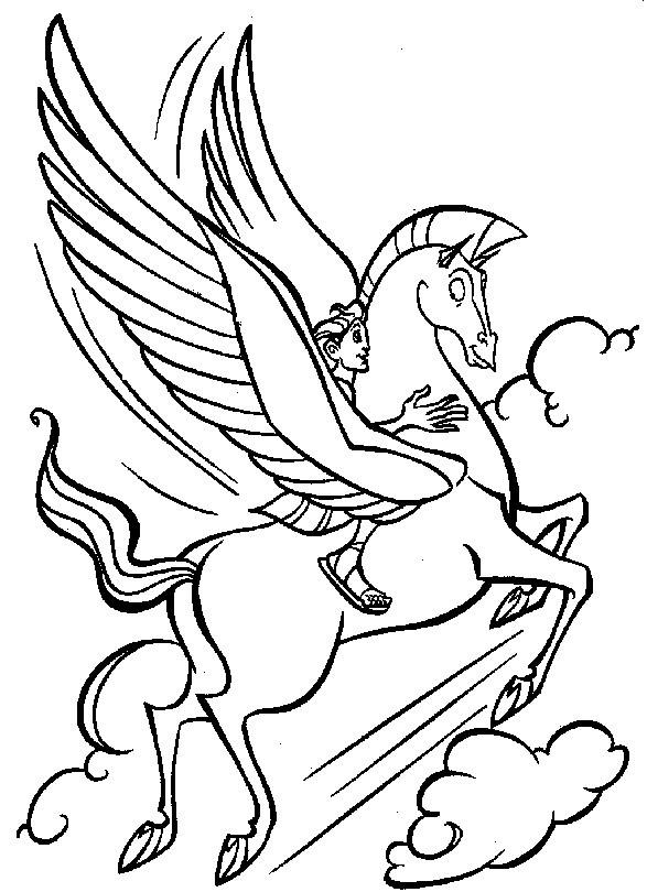 Coloriage et dessins gratuits Hercule et Pegace à imprimer