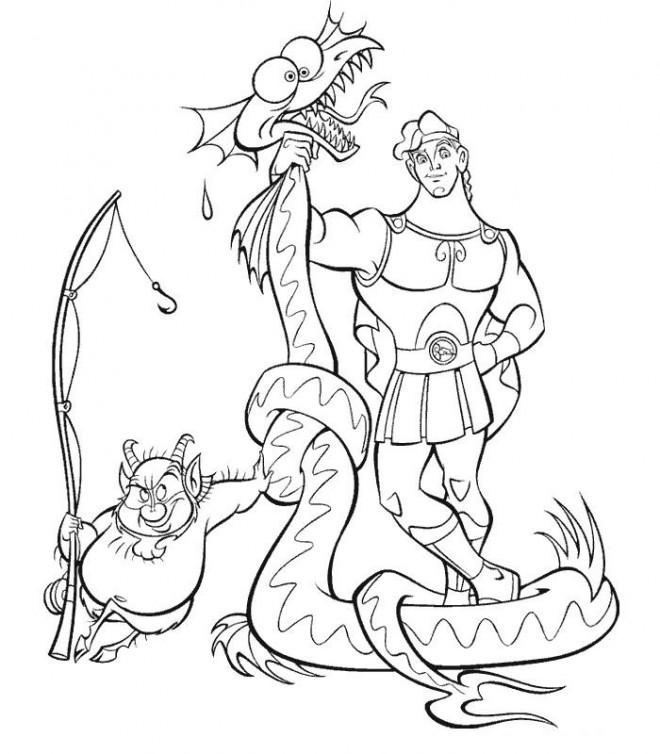 Coloriage et dessins gratuits Hercule et Phil ont attrapé un serpent à imprimer
