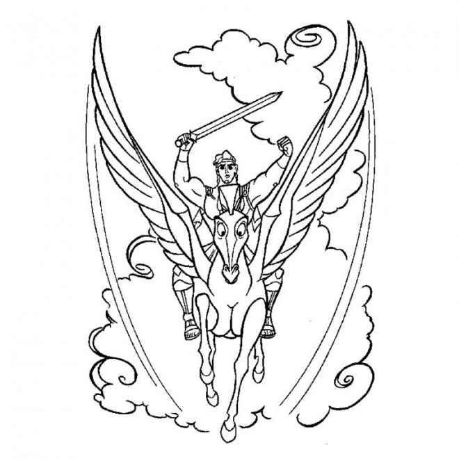 Coloriage et dessins gratuits Hercule et son cheval à imprimer