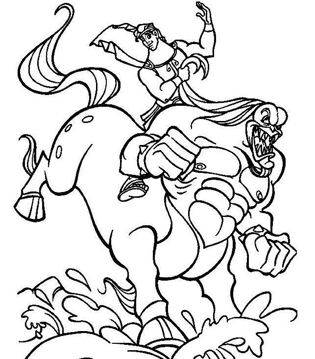 Coloriage et dessins gratuits Hercule se débat contre un monstre à imprimer