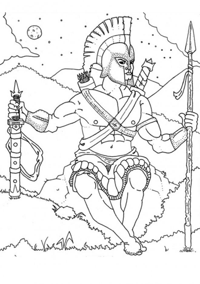 Coloriage et dessins gratuits Hercule se prépare pour un combat à imprimer