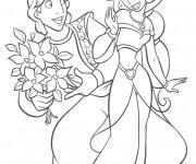 Coloriage et dessins gratuit Aladin offre un bouquet à Jasmine à imprimer