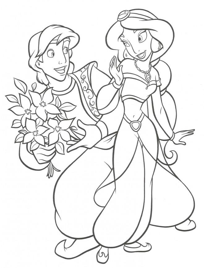 Coloriage et dessins gratuits Aladin offre un bouquet à Jasmine à imprimer