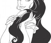 Coloriage et dessins gratuit Jasmine brosse ses cheveux noirs à imprimer