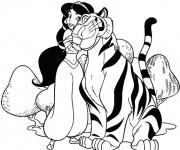 Coloriage et dessins gratuit Jasmine embrasse Rajah à imprimer