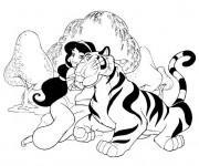Coloriage et dessins gratuit Jasmine et son tigre à imprimer