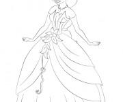 Coloriage et dessins gratuit Jasmine s'est habillé en une belle robe à imprimer