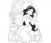 Coloriage et dessins gratuit Jasmine se maquille à imprimer