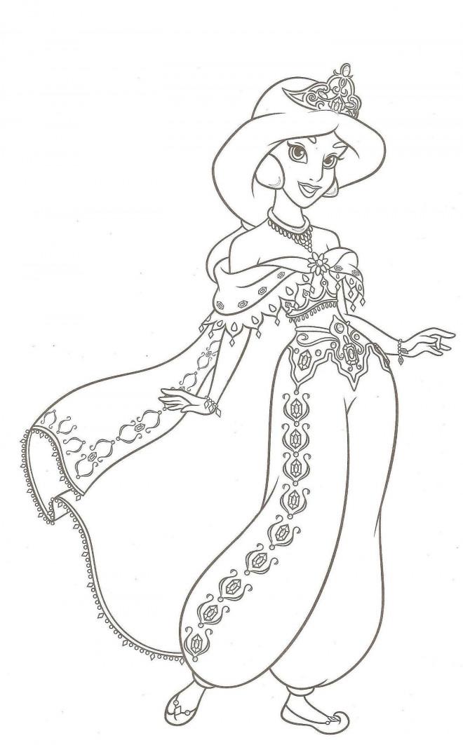 Coloriage la ravissante jasmine dessin gratuit imprimer - Coloriage de walt disney ...