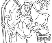 Coloriage et dessins gratuit Belle se regarde dans le miroir à imprimer