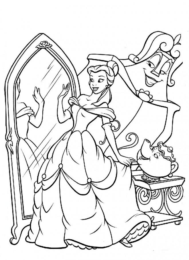 Coloriage et dessins gratuits Belle se regarde dans le miroir à imprimer