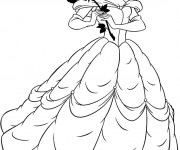 Coloriage Belle tient une rose en main