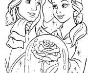 Coloriage et dessins gratuit La belle avec son prince à imprimer